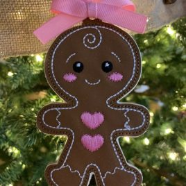 ITH – Gingerbread Family Set #1 Ornament 4×4 and 5×7 grouped – Digital Embroidery Design