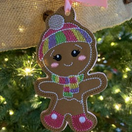 ITH – Gingerbread Family Set #6 Ornament 4×4 and 5×7 grouped – Digital Embroidery Design