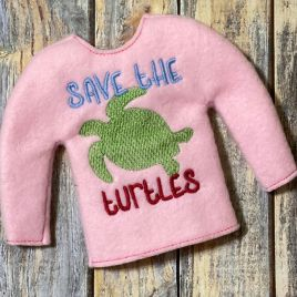 ITH – Save the turtles Doll Sweater 5×7 – Digital Embroidery Design