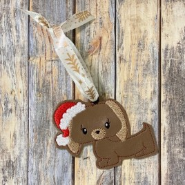 ITH – Santa Puppy Ornament 4×4 and 5×7 grouped – Digital Embroidery Design