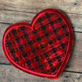 ITH – Plaid Heart Felties – 3 sizes – 4×4 and 5×7 Grouped- Digital Embroidery Design