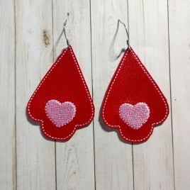 ITH – Heart Tear Drop Earrings – 3 sizes – 4×4 and 5×7 Grouped- Digital Embroidery Design