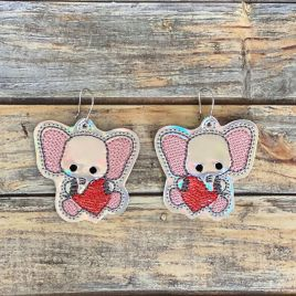 ITH – Valentine Elephant Earrings – 4×4 and 5×7 Grouped- Digital Embroidery Design