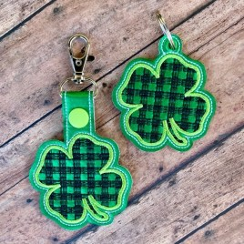 ITH Plaid 4 Leaf Clover Fobs 4×4 and 5×7 included-  DIGITAL Embroidery DESIGN