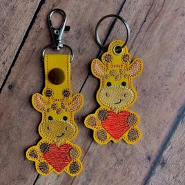 ITH Valentine Giraffe Fobs 4×4 and 5×7 included-  DIGITAL Embroidery DESIGN