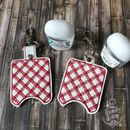 ITH Plaid Sanitizer Holders 4×4 and 5×7 included- DIGITAL Embroidery DESIGN