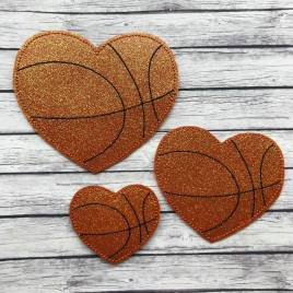 ITH – Basketball Heart Felties – 3 sizes – 4×4 and 5×7 Grouped- Digital Embroidery Design