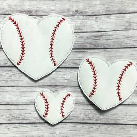 ITH – Baseball Heart Felties – 3 sizes – 4×4 and 5×7 Grouped- Digital Embroidery Design