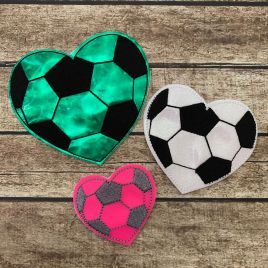 ITH – Soccer Heart Felties – 3 sizes – 4×4 and 5×7 Grouped- Digital Embroidery Design
