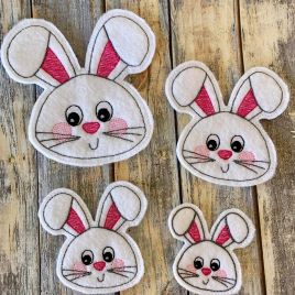 ITH – Bunny Face Felties – 4 sizes – 4×4 and 5×7 Grouped- Digital Embroidery Design