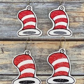 ITH – Silly Hat Earrings – 2 sizes – 4×4 and 5×7 Grouped- Digital Embroidery Design
