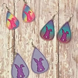 ITH – Bunny Tear Drop Earrings – 3 sizes – 4×4 and 5×7 Grouped- Digital Embroidery Design