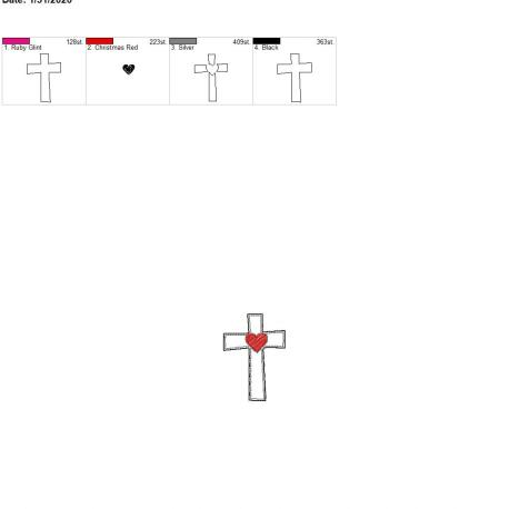 Sketch heart cross felties 2.5 inch single 4×4