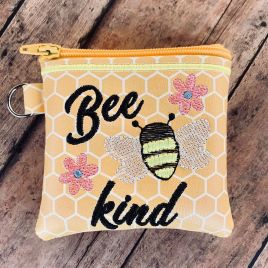 ITH – Bee Kind Zipper Bag – 2 sizes – Digital Embroidery Design