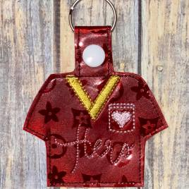 ITH Scrub Top Hero Tab and eyelet Fobs 4×4 and 5×7 included- DIGITAL Embroidery DESIGN