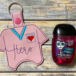 ITH Scrub Top Hero Sanitizer Holders 4×4 and 5×7 included- DIGITAL Embroidery DESIGN