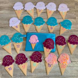 ITH – Ice Cream Cone Number Set with zipper bag – Digital Embroidery Design