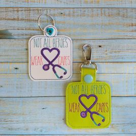 ITH Not All Heroes Wear Capes Tab and eyelet Fobs 4×4 and 5×7 included- DIGITAL Embroidery DESIGN
