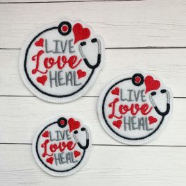 ITH – Live Love Heal Felties – 3 sizes – 4×4 and 5×7 Grouped- Digital Embroidery Design