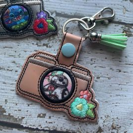 ITH Camera Applique Fobs 4×4 and 5×7 included- DIGITAL Embroidery DESIGN