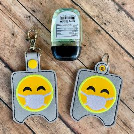 ITH Emoji Mask Sanitizer Holders 4×4 and 5×7 included- DIGITAL Embroidery DESIGN