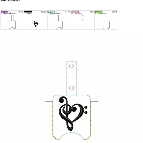 Music Love Sanitizer holder snap tab 5×7