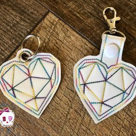 ITH Geo Heart Fobs 4×4 and 5×7 included- DIGITAL Embroidery DESIGN