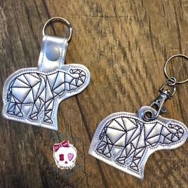ITH Geo Elephant Fobs 4×4 and 5×7 included- DIGITAL Embroidery DESIGN