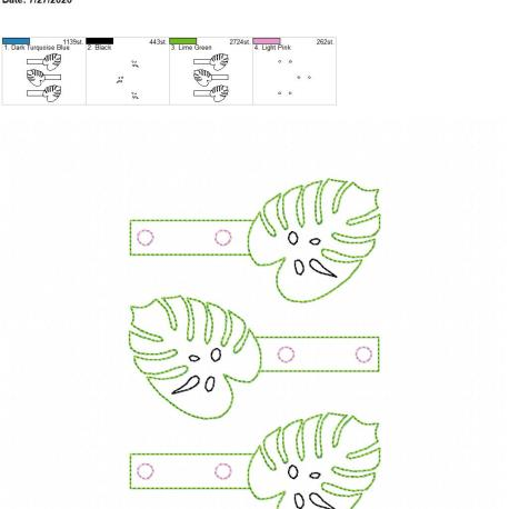 Monstera leaf snaptab 5×7 grouped