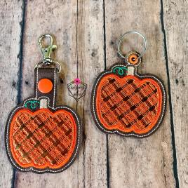 ITH Plaid Applique Pumpkin Fobs 4×4 and 5×7 included- DIGITAL Embroidery DESIGN