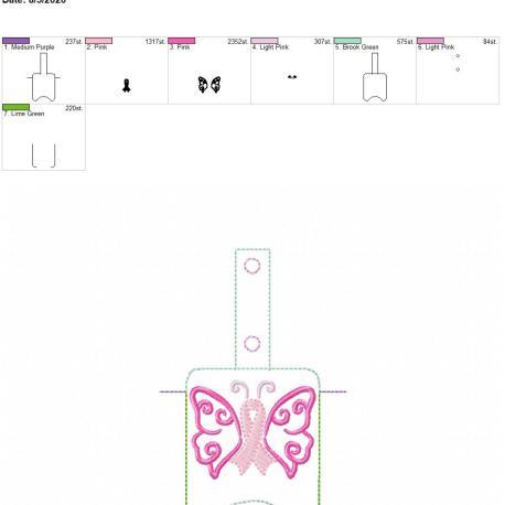 Awareness Butterfly Sanitizer holder snap tab 5×7