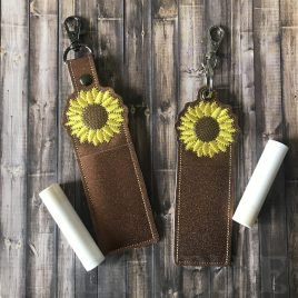 ITH Sunflower Chapstick Holders 5×7 – DIGITAL Embroidery DESIGN