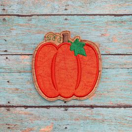 ITH Pumpkin Applique Coaster  4×4 – DIGITAL Embroidery DESIGN