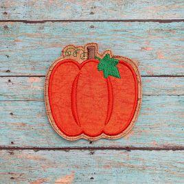 ITH Pumpkin Applique Coaster  4×4 – DIGITAL Embroidery DESIGN