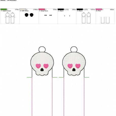 Girly Skull chapstick holder eyelet 5×7 grouped