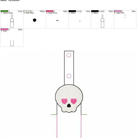 Girly skull chapstick holder snaptab 5×7