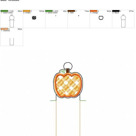 Plaid Pumpkin chapstick holder eyelet 5×7