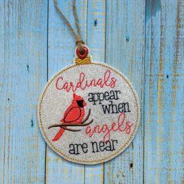 Cardinals Appear Ornament – Digital Embroidery Design