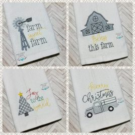 Farmhouse Christmas Towel Set – 2 Sizes – Digital Embroidery Design