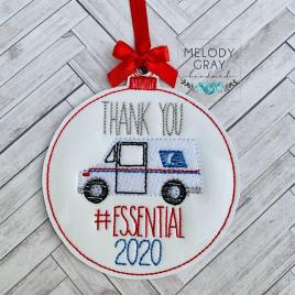 Mail Carrier Essential 2020 Ornament – Digital Embroidery Design