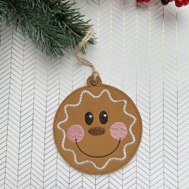 Round Gingerbread Ornament – Digital Embroidery Design