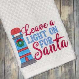 Leave A Light on for Santa – 2 sizes – Digital Embroidery Design