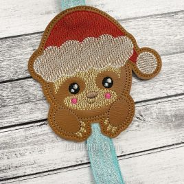 Santa Sloth – Book Band – Embroidery Design, Digital File