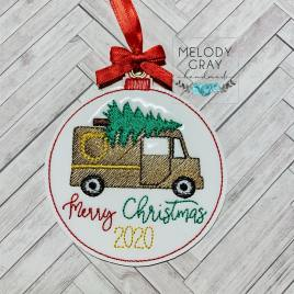 Brown Delivery Truck Merry Christmas 2020 Ornament – Digital Embroidery Design