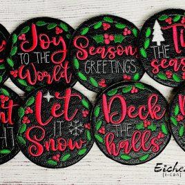 Holiday Frame Coaster Set 4×4 – DIGITAL Embroidery DESIGN