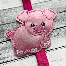 Pig Book Band – Embroidery Design, Digital File