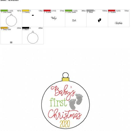 Baby's first christmas ornament 4×4