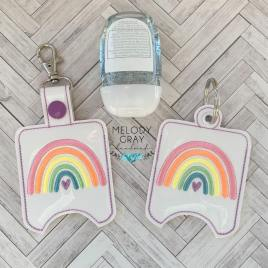 Boho Rainbow Heart Sanitizer Holders – DIGITAL Embroidery DESIGN
