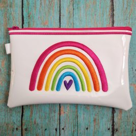 Boho Rainbow Heart Zipper Bag – 3 sizes – Digital Embroidery Design