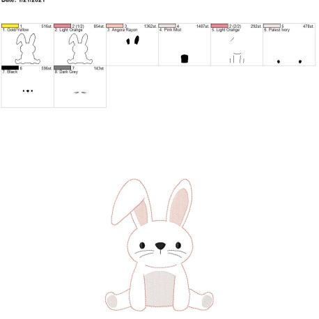 Bean Stitch Bunny Applique 6×10
